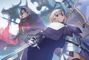 Rating: Safe Score: 75 Tags: 2girls aora armor blonde_hair blue_eyes cape dragon fate/grand_order fate_(series) gloves gray_hair jeanne_d'arc_alter jeanne_d'arc_(fate) long_hair ponytail short_hair signed sword weapon yellow_eyes User: Nepcoheart