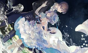Rating: Safe Score: 84 Tags: brown_hair dress flowers gray_hair headdress male nineo ribbons short_hair suit thighhighs water User: Flandre93