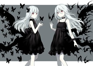 Rating: Safe Score: 112 Tags: 104 2girls animal bat bow butterfly choker dress gothic long_hair original polychromatic red_eyes ribbons white_hair User: BattlequeenYume