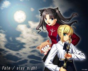 Rating: Safe Score: 3 Tags: artoria_pendragon_(all) fate_(series) fate/stay_night matou_sakura saber sword weapon User: Oyashiro-sama