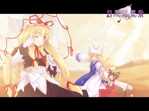 Rating: Safe Score: 28 Tags: animal_ears blonde_hair brown_eyes brown_hair catgirl chen clouds dress foxgirl hat long_hair multiple_tails ribbons short_hair sky tail touhou umbrella yakumo_ran yakumo_yukari yellow_eyes User: Oyashiro-sama
