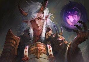 Rating: Safe Score: 109 Tags: all_male armor demon horns ibaraki_douji_(onmyouji) kaze_no_gyouja long_hair magic male onmyouji pointed_ears realistic red_eyes samurai white_hair User: luckyluna