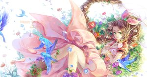 Rating: Safe Score: 92 Tags: aeris_gainsborough animal bird brown_hair cat_princess dress final_fantasy final_fantasy_vii flowers green_eyes leaves long_hair umbrella wristwear User: Flandre93