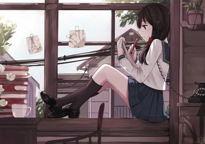 Rating: Safe Score: 171 Tags: blue_eyes brown_hair drink flowers kneehighs levi9452 long_hair original paper phone rose school_uniform skirt User: Flandre93