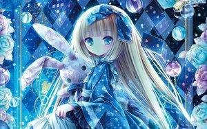 Rating: Safe Score: 84 Tags: aqua_eyes ball blonde_hair bow bunny dress flowers loli lolita_fashion long_hair tinkle User: RyuZU