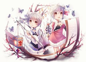 Rating: Safe Score: 78 Tags: 2girls anthropomorphism aurora brown_eyes butterfly chinese_clothes dress gray_hair ninghai paper pinghai ponytail twins zhanjian_shaonu User: MyCuteImouto