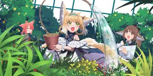 Rating: Safe Score: 29 Tags: animal_ears arknights blonde_hair bow brown_eyes brown_hair dress flowers foxgirl glasses green_eyes loli long_hair moli_qiyue multiple_tails perfumer_(arknights) pink_hair ponytail short_hair suzuran_(arknights) tagme_(character) tail watermark white wristwear User: RyuZU