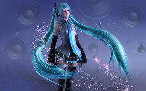 Rating: Safe Score: 53 Tags: 3d green_eyes green_hair hatsune_miku headphones long_hair thighhighs tie twintails vocaloid User: gnarf1975