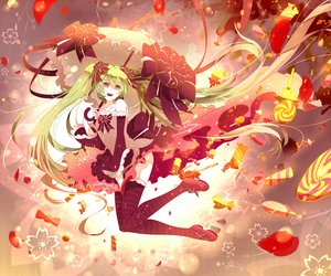 Rating: Safe Score: 129 Tags: candy green_eyes green_hair hatsune_miku long_hair petals phino_(jinko0094) skirt thighhighs twintails vocaloid User: Flandre93