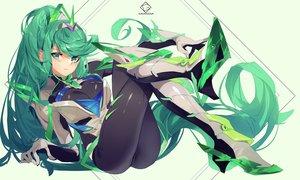 Rating: Safe Score: 68 Tags: armor blush bodysuit grandialee green green_eyes green_hair long_hair pneuma_(xenoblade) ponytail xenoblade User: RyuZU