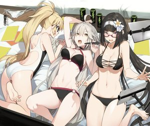 Rating: Safe Score: 98 Tags: akinashi_yuu ass barefoot bikini black_hair blonde_hair book breasts cameltoe cleavage fate/grand_order fate_(series) glasses gray_hair headband jeanne_d'arc_alter jeanne_d'arc_(fate) long_hair navel osakabehime ponytail red_eyes swimsuit yellow_eyes User: otaku_emmy