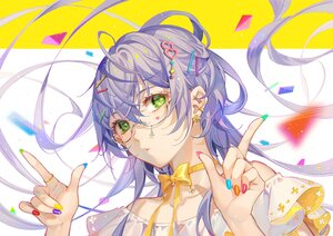 Rating: Safe Score: 54 Tags: bow choker close glasses green_eyes long_hair luo_tianyi purple_hair ribbons tidsean vocaloid vsinger User: BattlequeenYume