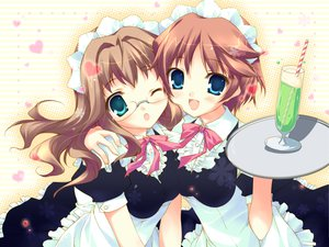 Rating: Safe Score: 30 Tags: 2girls aqua_eyes blue_eyes brown_hair chikotam cuffs_(studio) drink glasses hazuki_mao hazuki_rio headdress maid onii-chan_daaisuki! waitress wink User: Maboroshi