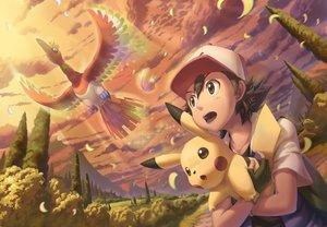 Rating: Safe Score: 11 Tags: all_male clouds feathers hat ho-oh ho-oh_(artist) male pikachu pokemon satoshi_(pokemon) sky User: C4R10Z123GT
