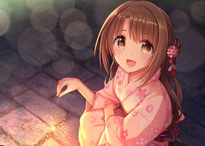Rating: Safe Score: 26 Tags: blush brown_hair close fireworks idolmaster idolmaster_cinderella_girls japanese_clothes long_hair night ponytail shimamura_uzuki u_rin yellow_eyes yukata User: otaku_emmy