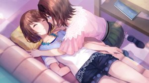 Rating: Safe Score: 66 Tags: 2girls blush brown_hair couch degica fuji_choko game_cg necklace ootori_ai short_hair shoujo_ai skirt sleeping yanagiya_kokoro yumeutsutsu_re:master User: BattlequeenYume