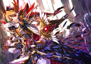 Rating: Safe Score: 160 Tags: armor blonde_hair feathers jian_huang original red_eyes sword weapon User: Maboroshi