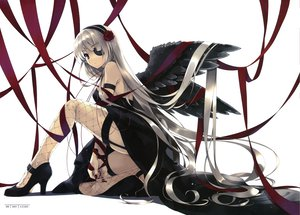Rating: Safe Score: 235 Tags: angel cradle eyepatch misaki_kurehito original scan white_hair wings User: Avenger