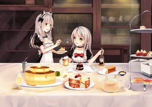 Rating: Safe Score: 71 Tags: 2girls animal_ears apron bow breasts cake chocolate cleavage drink food fruit gray_eyes headband headdress karin_(fineyanny) long_hair original pointed_ears strawberry white_hair yellow_eyes User: luckyluna