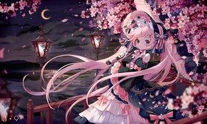 Rating: Safe Score: 64 Tags: bow cherry_blossoms flowers goth-loli hatsune_miku lolita_fashion moon nishina_hima sakura_miku sky twintails umbrella vocaloid water User: BattlequeenYume