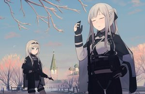 Rating: Safe Score: 21 Tags: 2girls ak12_(girls_frontline) an94_(girls_frontline) anthropomorphism aqua_eyes braids building girls_frontline gloves gray_hair gun hinami047 long_hair snow weapon User: RyuZU