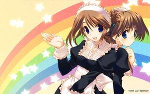 Rating: Safe Score: 34 Tags: 2girls amaduyu_tatsuki aquaplus blush komaki_ikuno komaki_manaka leaf maid rainbow to_heart to_heart_2 User: Wizzard