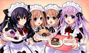 Rating: Safe Score: 481 Tags: apron black_hair blue_eyes blush brown brown_hair compile_heart dress food group headdress hyperdimension_neptunia hyperdimension_neptunia_mk2 long_hair maid nepgear purple_eyes purple_hair ram red_eyes ribbons rom scan short_hair tsunako twins twintails uni_(choujigen_game_neptune) User: Dummy