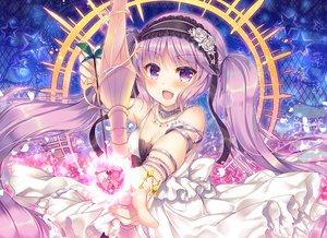 Rating: Safe Score: 40 Tags: blush bow_(weapon) choker euryale fate/grand_order fate_(series) headdress long_hair purple_eyes purple_hair suzune_rena twintails weapon wristwear User: RyuZU