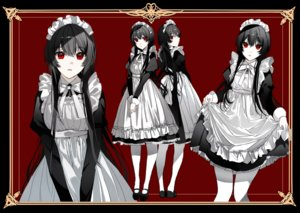 Rating: Safe Score: 70 Tags: apron black_hair headdress long_hair maid naru_(ul) original pantyhose polychromatic red red_eyes skirt_lift User: otaku_emmy