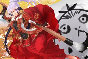 Rating: Safe Score: 49 Tags: bicolored_eyes daikichi_maru final_fantasy_xiv gloves headdress japanese_clothes ponytail samurai signed white_hair User: Flandre93