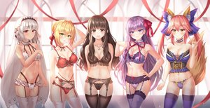 Rating: Safe Score: 162 Tags: animal_ears attila_(fate/grand_order) bb_(fate) blonde_hair bnari bra breast_hold brown_hair dark_skin fate/extella fate/extra fate/grand_order fate_(series) garter_belt gray_hair group kishinami_hakuno long_hair navel necklace nero_claudius_(fate) panties pink_hair purple_hair ribbons stockings tail tamamo_no_mae_(fate) thighhighs twintails underwear User: BattlequeenYume