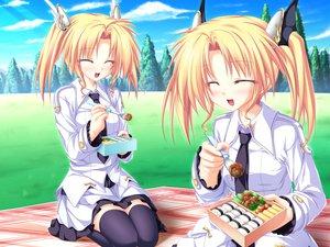 Rating: Safe Score: 16 Tags: blonde_hair food game_cg grass magus_tale nina_geminis rena_geminis school_uniform sky tenmaso thighhighs tie tree twins twintails whirlpool User: Oyashiro-sama