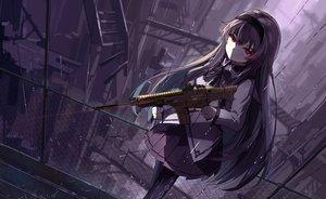 Rating: Safe Score: 215 Tags: akemi_homura bow gun haraguroi_you headband long_hair mahou_shoujo_madoka_magica pantyhose polychromatic rain red_eyes skirt water weapon User: Flandre93