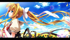 Rating: Safe Score: 108 Tags: air blonde_hair blue_eyes clouds kamio_misuzu moneti_(daifuku) petals ponytail sky sunflower User: FormX