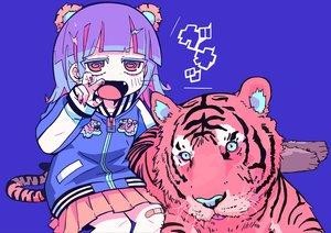 Rating: Safe Score: 40 Tags: animal animal_ears bandaid blue blue_hair fang original red_eyes short_hair skirt teracoot tiger User: otaku_emmy