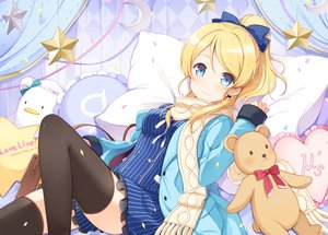 Rating: Safe Score: 154 Tags: 6u_(eternal_land) ayase_eri bed blonde_hair blue_eyes blush bow breasts dress long_hair love_live!_school_idol_project ponytail ribbons stars teddy_bear thighhighs waifu2x User: RyuZU