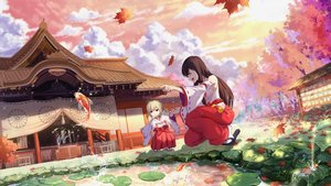 Rating: Safe Score: 35 Tags: 2girls animal archer_youko autumn clouds fish game_cg grass japanese_clothes leaves loli miko mirror_(game) shrine sunset tagme_(artist) User: Demuwu