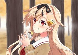 Rating: Safe Score: 73 Tags: autumn blonde_hair blush food forest headband kantai_collection long_hair red_eyes ribbons seifuku tagme_(artist) tree yuudachi_(kancolle) User: mattiasc02