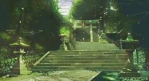 Rating: Safe Score: 59 Tags: green kamo_nasus. nobody original realistic scenic shrine stairs torii User: FormX