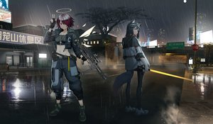 Rating: Safe Score: 46 Tags: 2girls aliasing animal_ears arknights black_hair building city cross exusiai_(arknights) gun halo hamachi_hazuki hoodie long_hair navel necklace night pantyhose purple_hair rain red_eyes reflection short_hair sword tail texas_(arknights) tree water weapon wet wings User: Arsy
