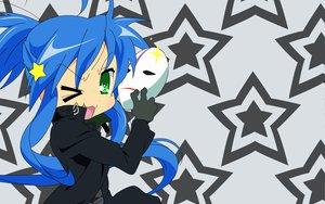 Rating: Safe Score: 61 Tags: cosplay darker_than_black izumi_konata lucky_star mask parody stars vector User: Oyashiro-sama