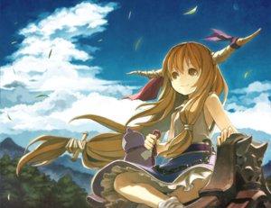 Rating: Safe Score: 148 Tags: brown_eyes brown_hair clouds horns ibuki_suika kitsune_(kazenouta) leaves long_hair sky touhou User: austerely