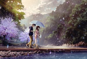 Rating: Safe Score: 135 Tags: black_hair brown_hair clouds dress long_hair male mocha_(cotton) original rain short_hair signed sky tree umbrella water User: RyuZU