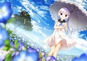 Rating: Safe Score: 45 Tags: blue_eyes blue_hair blush chinomaron dress gochuumon_wa_usagi_desu_ka? kafuu_chino loli long_hair umbrella User: あかり