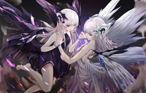 Rating: Safe Score: 66 Tags: 2girls aliasing barefoot dress green_eyes long_hair neon_(pixiv31150749) original pointed_ears red_eyes twins white_hair wings User: BattlequeenYume