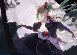 Rating: Safe Score: 55 Tags: dress elbow_gloves gloves green_eyes green_hair hatsune_miku long_hair slyvia twintails vocaloid User: sadodere-chan