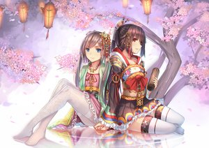 Rating: Safe Score: 237 Tags: all_male blue_eyes bow brown_hair cherry_blossoms flowers headdress japanese_clothes lolita_fashion long_hair male necklace otoko_no_ko pantyhose ponytail red_eyes thighhighs weiyinji_xsk yukata User: Flandre93