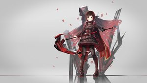 Rating: Safe Score: 205 Tags: boots cape dress gloves gray pantyhose petals red_flowers ruby_rose rwby scythe short_hair weapon User: Flandre93