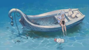 Rating: Safe Score: 53 Tags: animal_ears barefoot bikini boat camera catgirl final_fantasy final_fantasy_xiv gray_hair jun_(5455454541) miqo'te moogle swimsuit tail water User: SciFi
