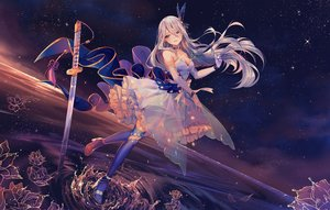 Rating: Safe Score: 121 Tags: breasts choker cleavage dress elbow_gloves gloves gray_hair hyanna-natsu katana long_hair original pointed_ears stars sword thighhighs water watermark weapon User: BattlequeenYume